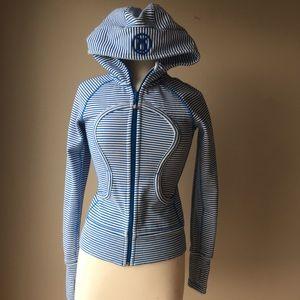 Lululemon Blue white striped Scuba Hooded Jacket